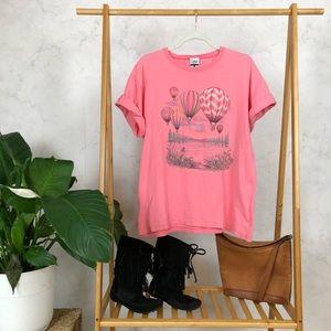 Vintage Pink Hot Air Balloon Graphic Tee Shirt